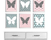 Ikat Butterfly Nursery Girl Baby Wall Art Pink Blue Grey set of 6