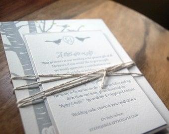 Letterpressed Wedding Invitations - Birch