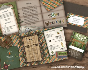 Customized PDF file: Endless Summer Camp Wedding Trifold Invitation Suite by Luckyladypaper- DIY printing