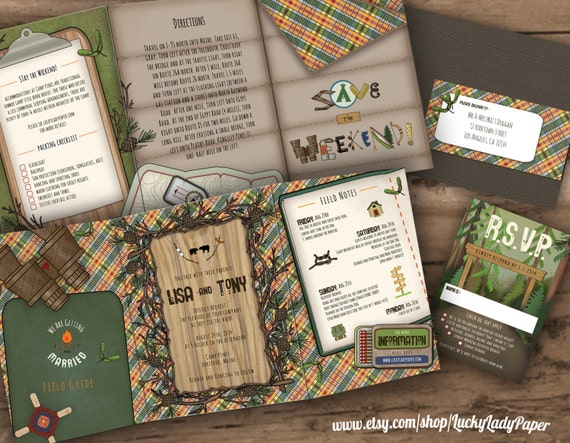 Camping Wedding Invitations: Items Similar To Endless Summer Camp Wedding Trifold