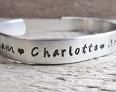 CUSTOM Childrens Child Names Cuff Bracelet For Mom Mother Aluminum Personalized For You Kids Names Mommy Gift Hand Stamped Jewelry