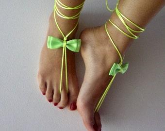 neon green barefoot sandles, wedding ,Bikini , Women , Beach , Bridal Sandals , Bridal Jewelry ,shoes