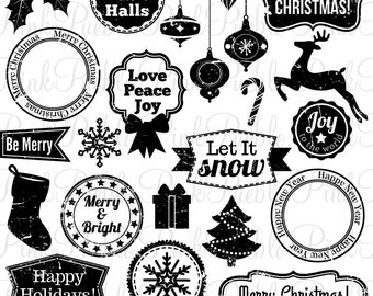 Christmas Holiday Stamps Clipart Clip Art, Vintage Grunge Christmas Badge Tags Labels Clipart Clip Art Vectors - Commercial and Personal
