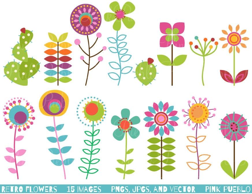 Retro Flower Clipart Clip Art Vintage Flower Clip Art Clipart