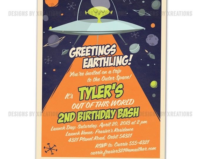 Space Alien Spaceship Invitation, Outerspace Party, I will customize for you - Print your own