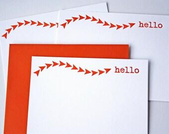Hello Letterpress Stationery Rust Orange Arrows