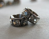 20 pc Clear Crystal A Grade Rhinestone Gunmetal  Rondell Spacer Beads, not AB, 8mm diameter,