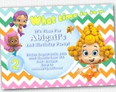 Bubble Guppies Invitation - Chevron - Molly or Oona, or Deema Printable