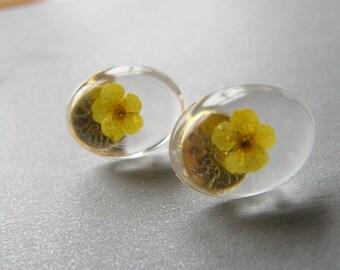 Yellow Flower Earrings, Resin Flower Earrings, Flower Jewelry, Eco Resin
