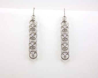 Silver Helm Weave Chainmaille Earrings