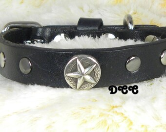 RTS Dog Collar LEATHER rich black Sliver Concho Star in the middle with studs on each side 5/8 inch D Ring Accessories Pet Pets Accessory