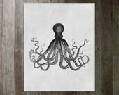 Printable Art Print - Octopus 8x10