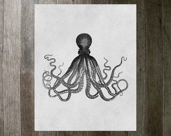 Printable Art Print - Octopus 8x10