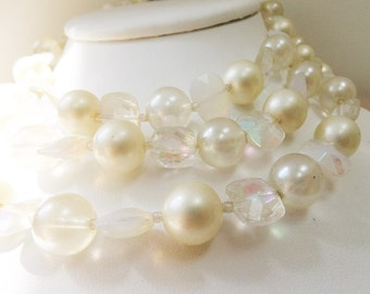 Vintage jewelry necklace Marvella faux pearls and  Swarovski aurora borealis crystal 3 strand bib necklace