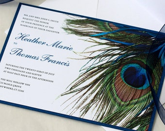 peacock wedding invitations | etsy, Wedding invitations