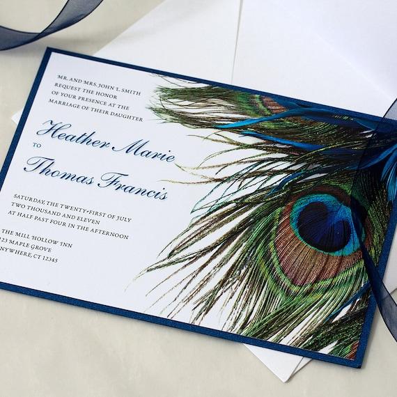 Peacock Wedding Invitation, Feather Wedding, Peacock Feather, Wedding Invite, DEPOSIT