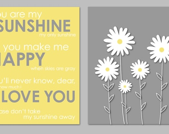 Yellow And Gray Bathroom Art Nursery Prints You Are My Sunshine Botanical  Daisy Prints Modern Bedroom Part 35