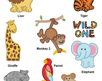 Jungle Animals Machine APPLIQUE Embroidery Designs