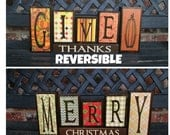 Reversible Christmas and Thanksgiving wood blocks-Give thanks reverses with(VINTAGE)  Merry Christmas