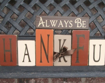 Fall wood blocks- Always be Thankful