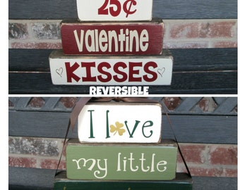REVERSIBLE Valentine's and St Patty's day stacker blocks