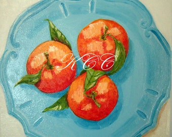 Fine Art Print of My Original Oil Painting- Tangerines on Aqua Plate