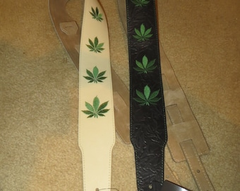 Leather guitar strap with cannabis embrodery