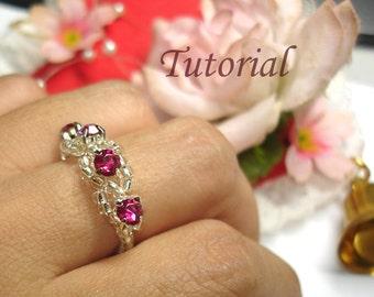 Beading Tutorial - Beaded Ripples Of Gems Ring Pattern
