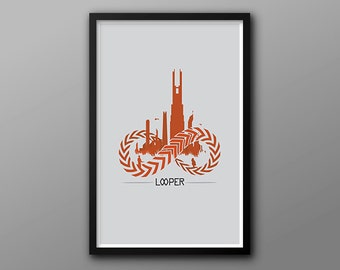 Protect Yourself // Looper Alternate Movie Poster // Orange, Gray, and Red Infinity Illustration with Skyline and Character Silhouettes