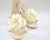 Ivory Shoe clips - Perfect for Bridesmaids shoes / Bridal shoes / Prom shoes - Custom made Shoe Clips with over 50 colors to choose from