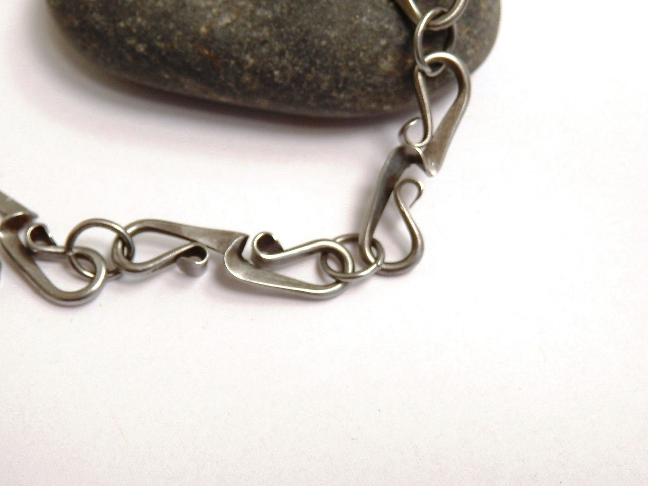 Forged Link Chains : Bracelet handmade link chain forged steel by jeaninedesigns