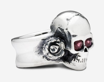 Sterling Silver Skull & Roses Ring with Ruby Eyes
