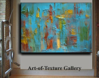 Original Abstract Texture Painting HUGE Modern Aqua Turquoise Gold Red Carved Sculpture Knife Oil Painting by Je Hlobik