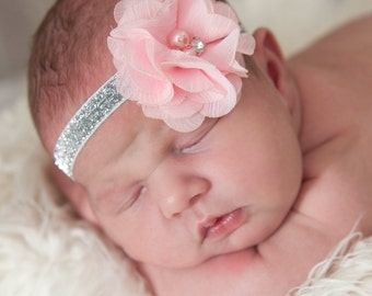 Baby Headband, Pink Headband,Baby girl Headband,Newborn Headband,Flower Headband, Small Bow Headband, Baby Headbands,Baby Hair Bows.