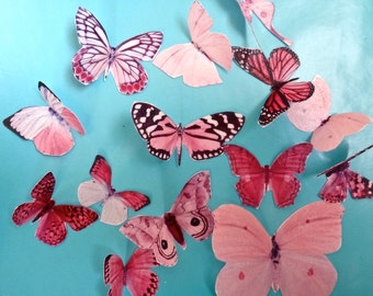 BONANZA of 13 PINK BUTTERFLY edible image wafer papers for your iced cookies, cakes and cupcakes