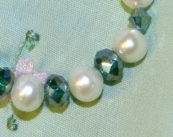 Newborn Baby Bracelet Freshwater Pearls Emerald Crystal Sterling Clasp Baby Gift Infant Jewelry Keepsake