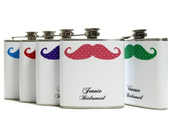 Bridesmaid Flask Set // Personalized Flasks for Your Bridesmaids // Polka Dot Mustache Flasks