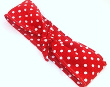 Rosie The Riveter Vintage Inspired Head Scarf, Red with White Polka Dots Pinup Headband 40s hair accessory
