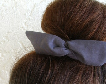 "Wire Bun Wrap, Top Knot Wire Wrap Solid Color Grey ""Mini"" Dolly Bow Wire Headband Ponytail Hair tie Hair Bun Tie Wrap"