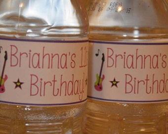 Rock Star Diva Water Bottle Labels. Bottle Water Labels. Guitar. Stars. Rock Star Birthday Party. Set of 12