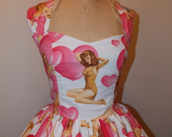 Custom Made to order Pin UP Hearts Alexander Henry fabric Geekery Sweet Heart Mini Dress