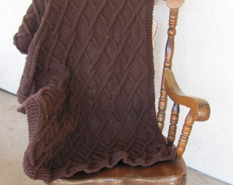 Hand Knitted Blanket OOAK Twisted Cable Chocolate Brown