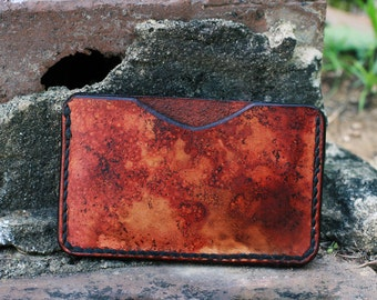 Leather Wallet Credit Card Holder Hand Stitched