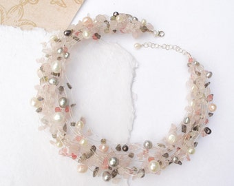 Pearl Statement Necklace, June Birthstone jewelry, Wedding Pink Grey Silver Freshwater pearls - Women Fall Fashion Trends