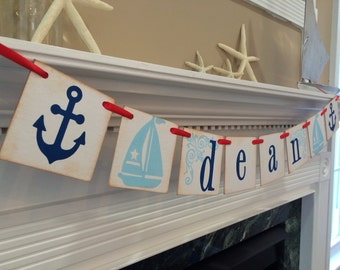Nautical Room Decor / Personalized Boy Name Banner / Boy Nautical Baby Shower Banner