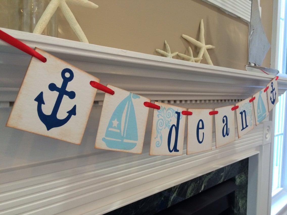 nautical room decor personalized boy name banner boy. Black Bedroom Furniture Sets. Home Design Ideas
