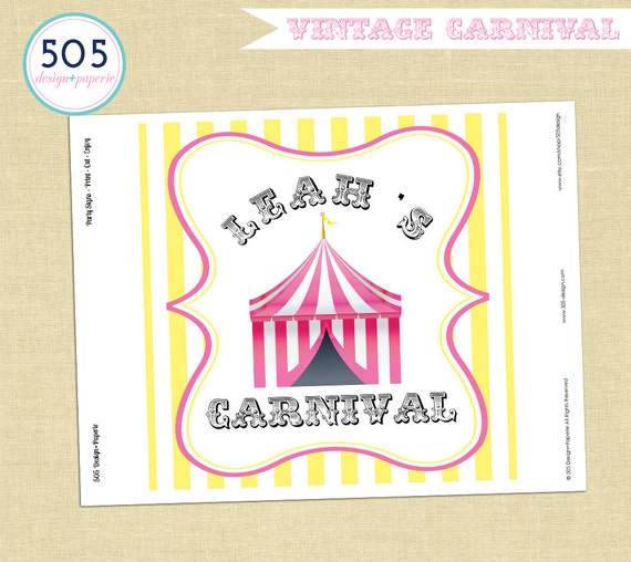 Vintage Carnival Party Decorations - Pink Yellow Circus Party Decor by ...