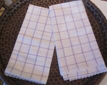 Two Lavender Plaid Linen Kitchen Tea Towel with Lace Trim- vintage kitchen linen, lavender plaid, linen towel