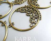 Earring Findings, earring chandelier, 48*43mm brass filigree hoop with 11 hoops, bronze color,  jewelry making supplies, 10 pieces