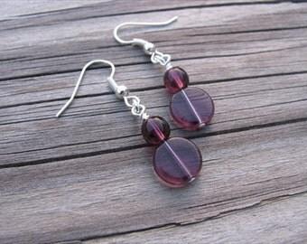Transparent Amethyst Purple Glass Beaded Earrings
